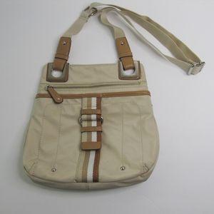 NWOT! TLYER RODAN Tan Canvas/Brown Leather  Purse